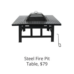 Heavy Duty Steel Table Top Fire Pit with Lid and Fire Iron - 30 Inches - Black